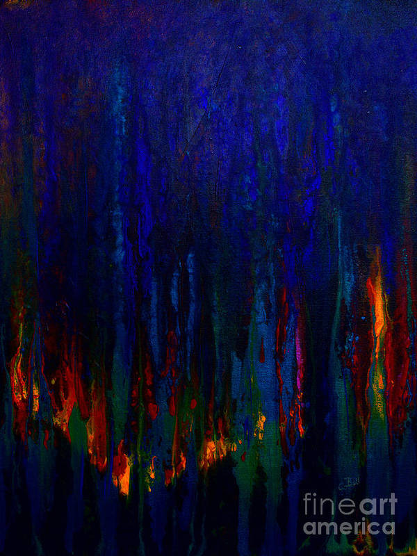 Abstract Print featuring the painting Abstract Evergreens by Claire Bull