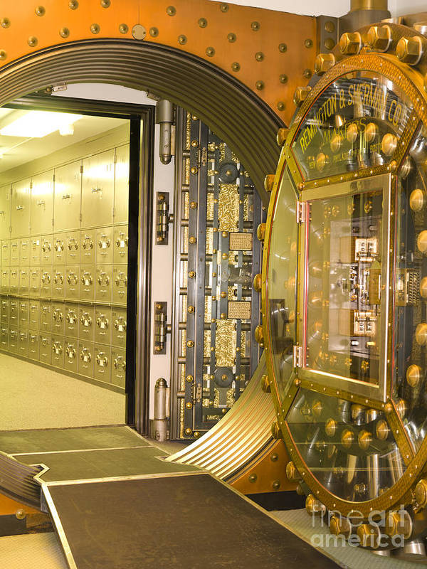 Architectural Print featuring the photograph Bank Vault Doors Leading To Safety Deposit Boxes by Adam Crowley