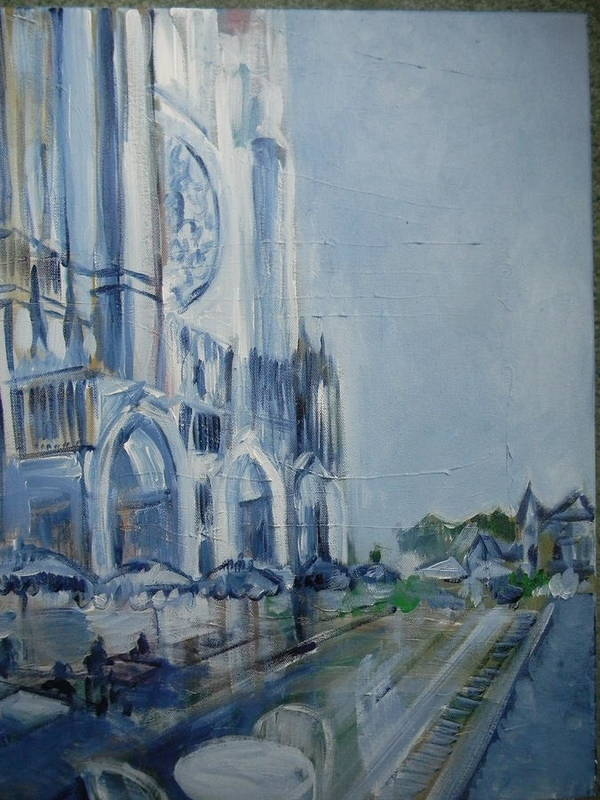 Chartre Print featuring the painting Blue Study Of Chartre by Carol Mangano