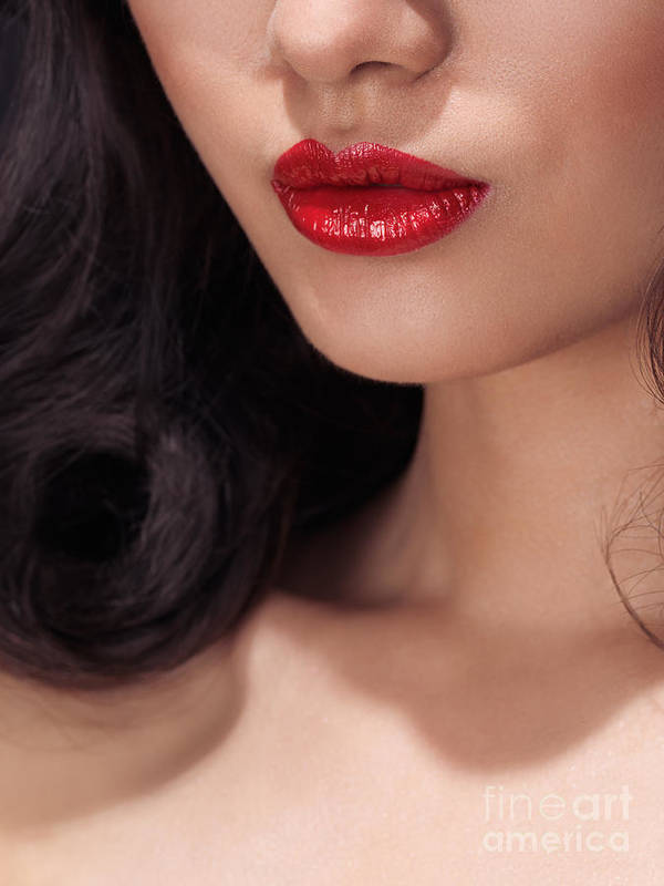 Lips Print featuring the photograph Closeup Of Woman Red Lips by Oleksiy Maksymenko