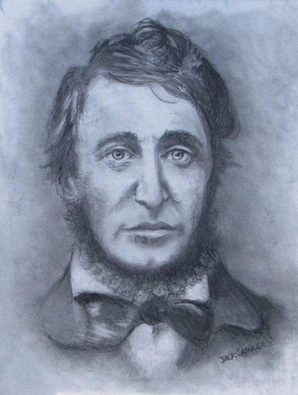 Henry David Thoreau Print featuring the drawing Henry David Thoreau by Jack Skinner