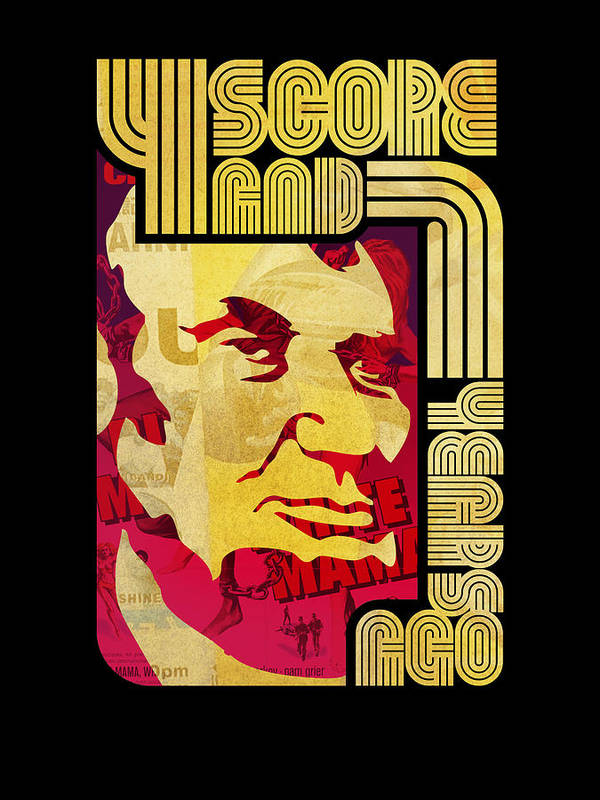 Typography Print featuring the digital art Lincoln 4 Score On Black by Jeff Steed