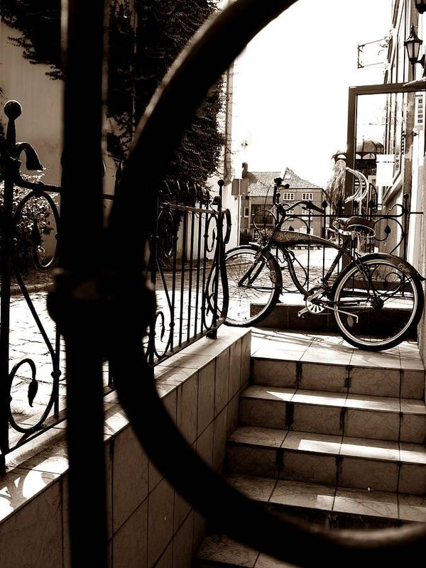 Bike Print featuring the photograph Lonely Bike by Birut Ces