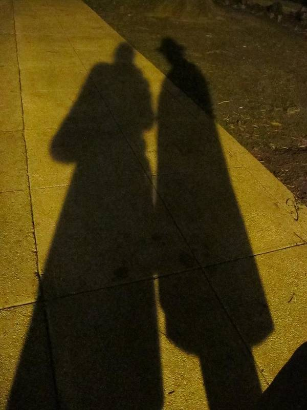 People Shadow Print featuring the photograph Only The Shadow Knows by Valia Bradshaw