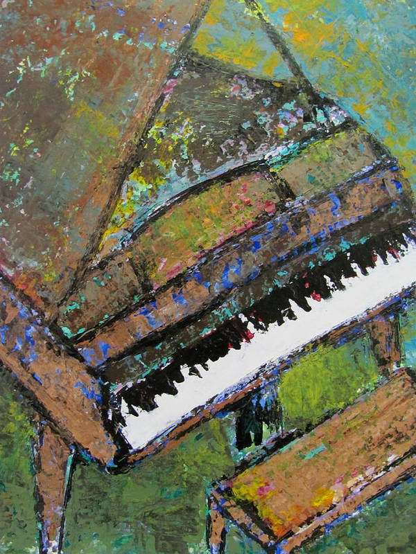 Music Print featuring the painting Piano Aqua Wall - Cropped by Anita Burgermeister