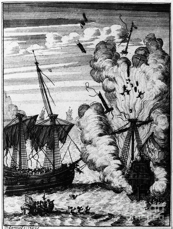 17th Century Print featuring the photograph Pirate Ships by Granger