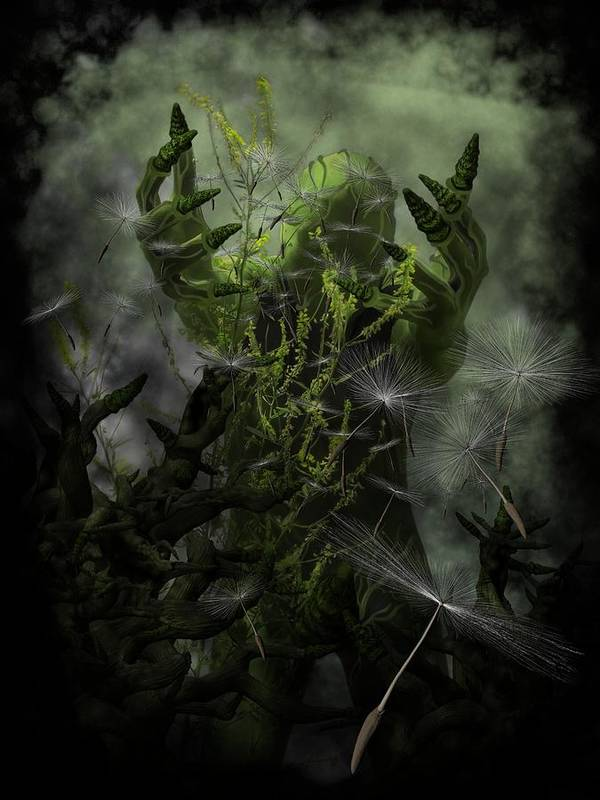 Gothic Horror Print featuring the digital art Plant Man Cometh by Michael Knight