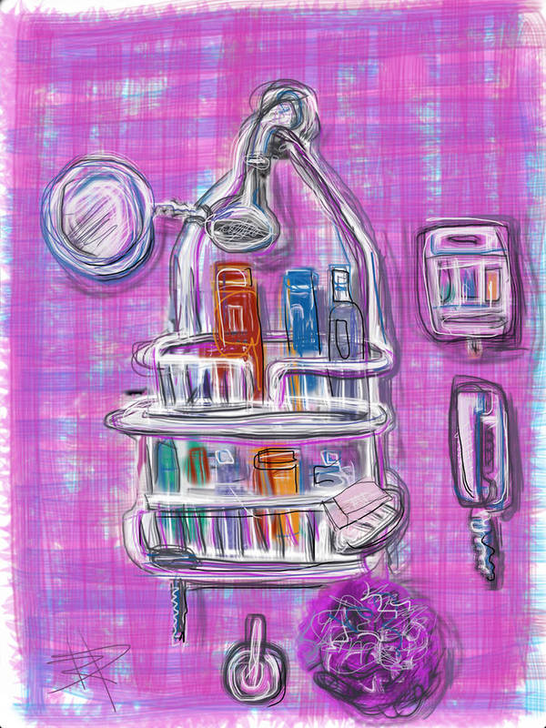 Shower Print featuring the mixed media Shower Time by Russell Pierce