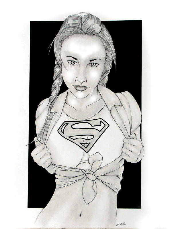 Dc Comics Print featuring the drawing Supergirl by Nathan Miller