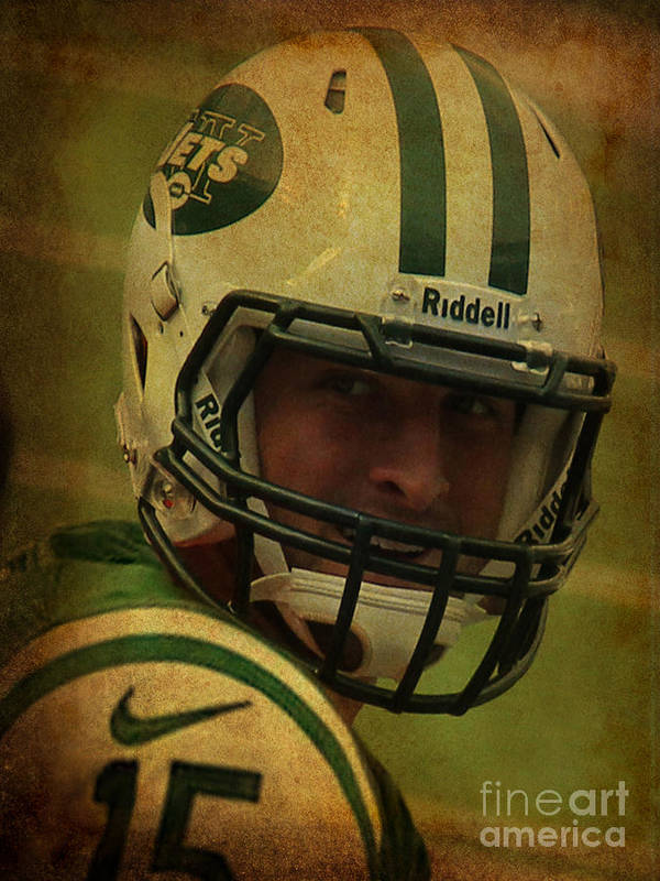 Lee Dos Santos Print featuring the photograph Tim Tebow - New York Jets - Timothy Richard Tebow by Lee Dos Santos