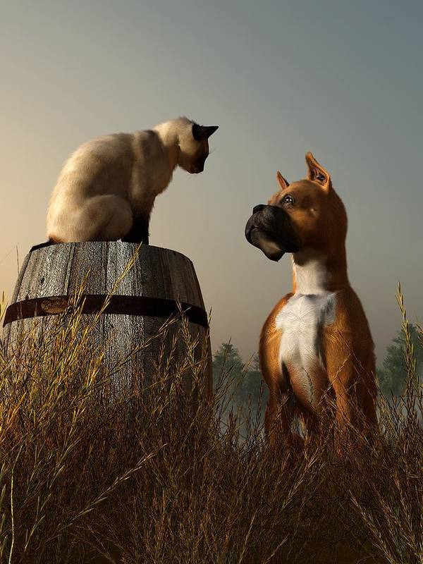 Dog Print featuring the digital art Boxer And Siamese by Daniel Eskridge