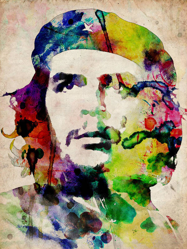 Che Guevara Print featuring the digital art Che Guevara Urban Watercolor by Michael Tompsett