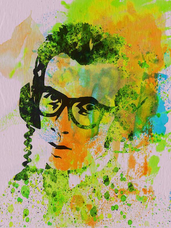 Elvis Costello Print featuring the painting Elvis Costello by Naxart Studio