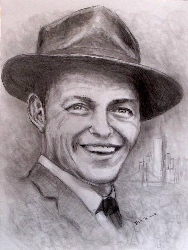 Frank Sinatra Print featuring the drawing Frank by Jack Skinner