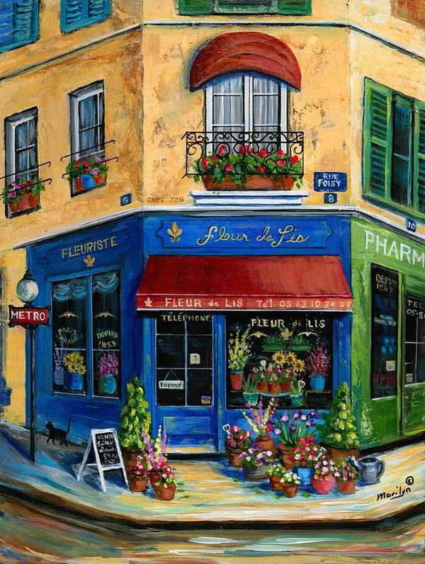 Paris Print featuring the painting French Flower Shop by Marilyn Dunlap