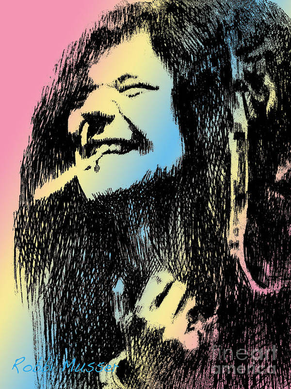 Janis Print featuring the drawing Janis Joplin by Robbi Musser