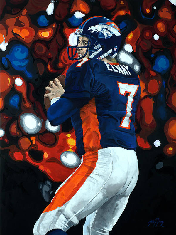 Denver Print featuring the painting John Elway - Legacy by Mike Lorenzo
