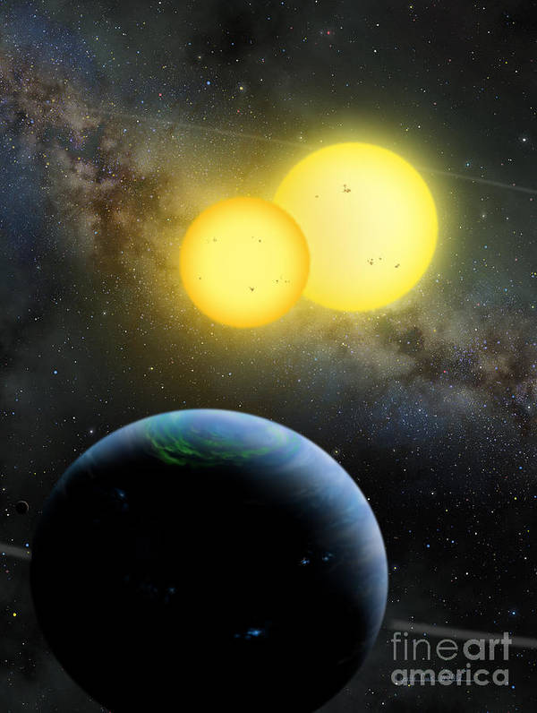 Lynette Cook Print featuring the painting Kepler-35 by Lynette Cook
