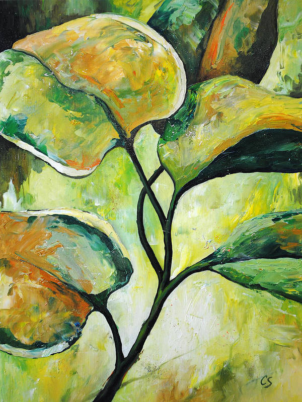 Leaves Print featuring the painting Leaves2 by Chris Steinken