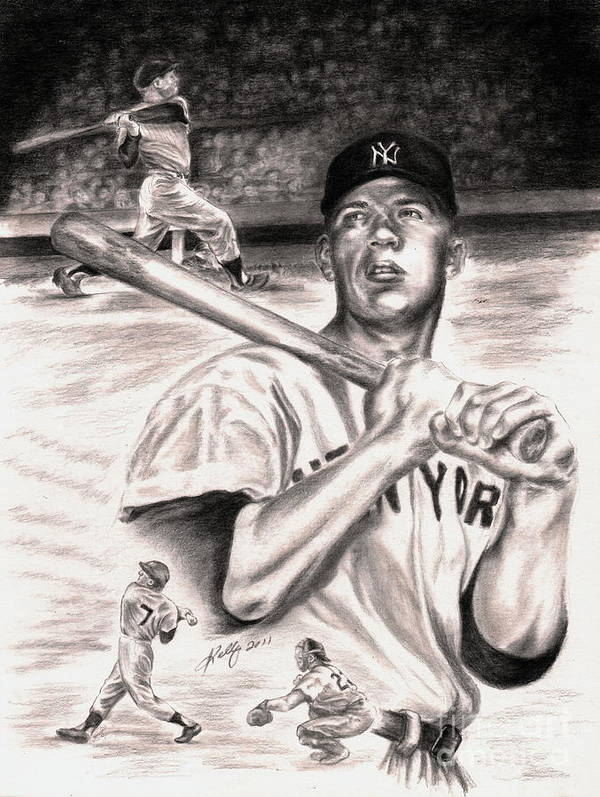 Mickey Mantle Portrait Print featuring the drawing Mickey Mantle by Kathleen Kelly Thompson