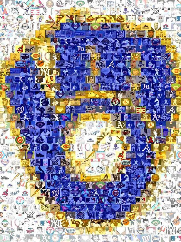 Milwaukee Brewers Print featuring the drawing Milwaukee Brewers Mosaic by Paul Van Scott