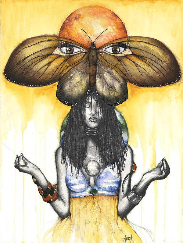 Mother Nature Print featuring the mixed media Mother Nature Ix by Anthony Burks Sr