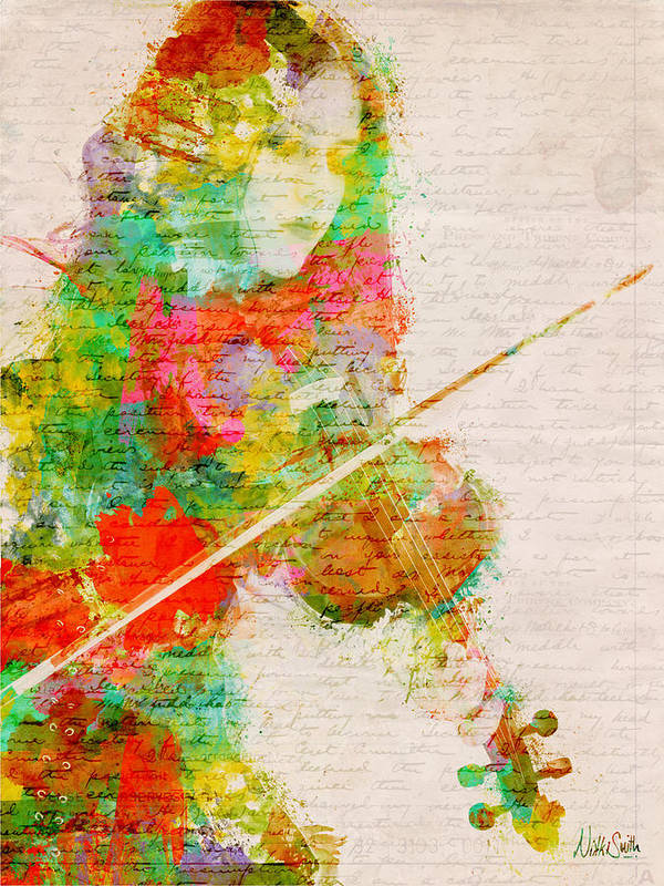 Violin Print featuring the digital art Music In My Soul by Nikki Smith