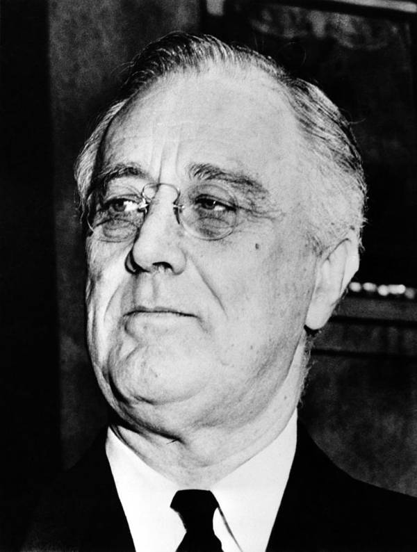 Franklin Roosevelt Print featuring the photograph President Franklin Delano Roosevelt by War Is Hell Store