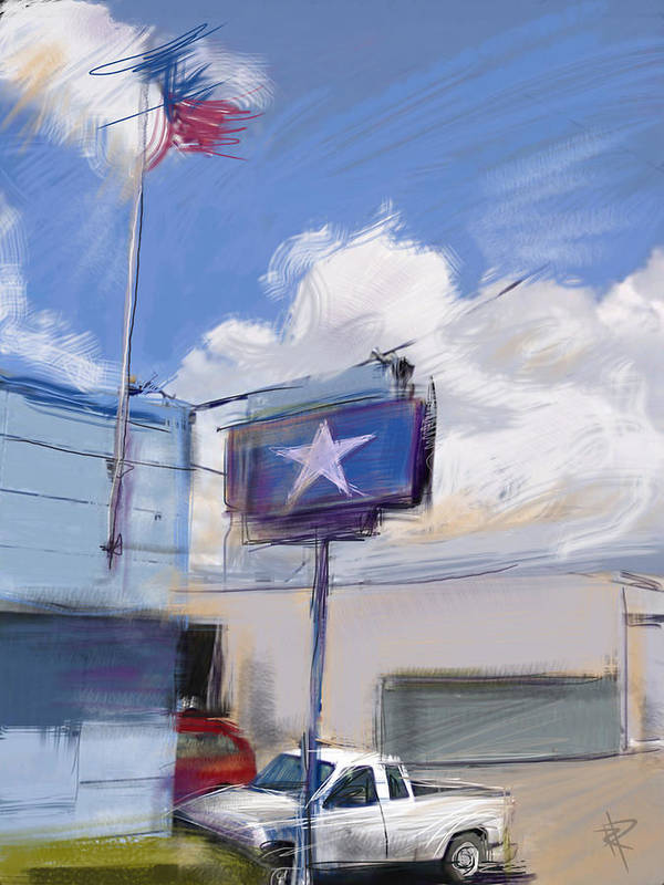 Industrial Building Print featuring the mixed media Red White And Blue by Russell Pierce