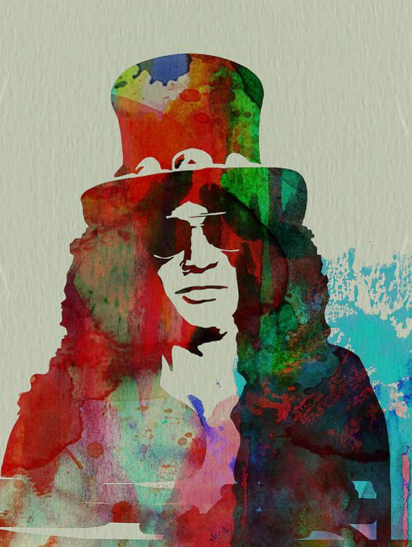 Guns N' Roses Print featuring the painting Slash Guns N' Roses by Naxart Studio