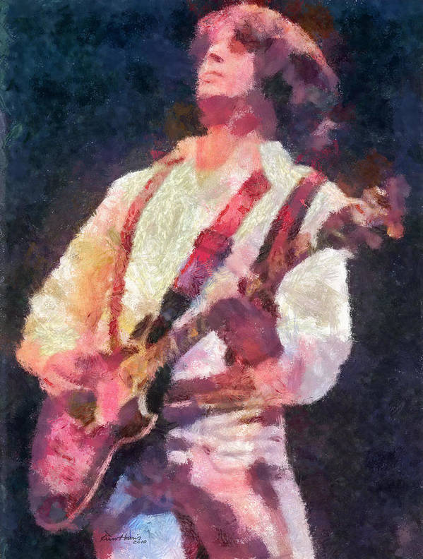 Guitar Print featuring the painting Steve Miller 1978 by Russ Harris