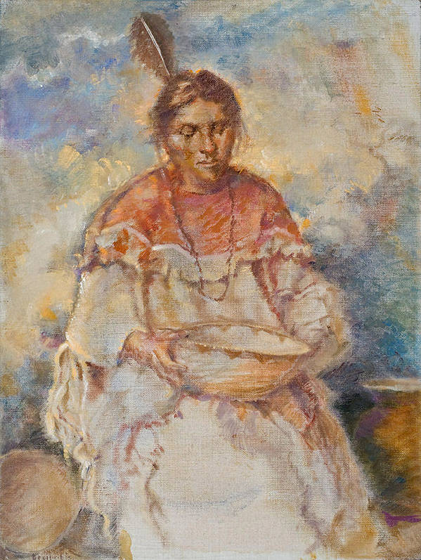 Native Americans Print featuring the painting The Basket Maker by Ellen Dreibelbis