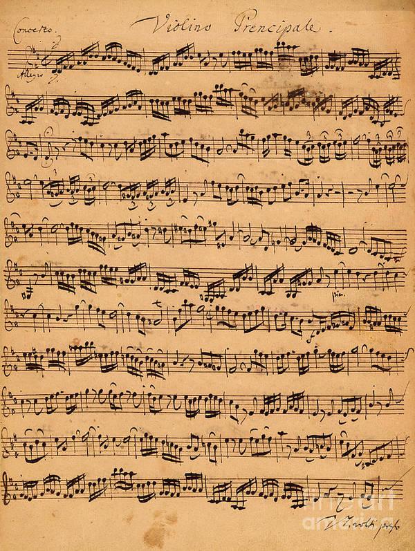 Music; Musician; Score; Composition; Composer; Classical Music; Baroque; Notes; Note; Notation; Handwritten; Manuscript; Handwriting; First Violin Print featuring the drawing The Brandenburger Concertos by Johann Sebastian Bach