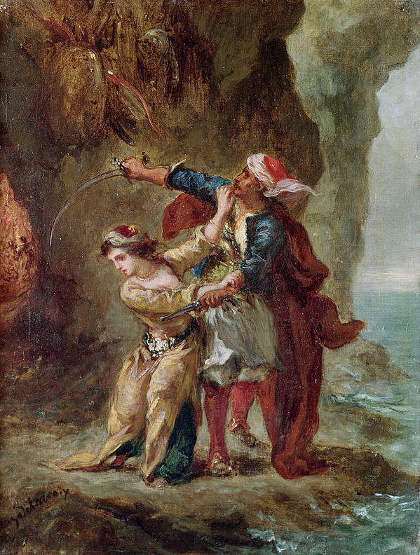 The Print featuring the painting The Bride Of Abydos by Ferdinand Victor Eugene Delacroix