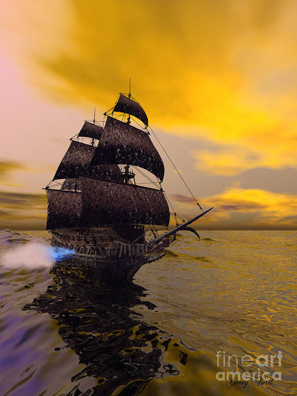 The Flying Dutchman Print featuring the painting The Flying Dutchman by Corey Ford