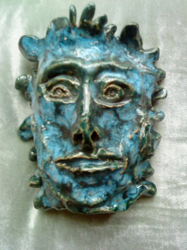 Green Man Print featuring the ceramic art The Green Man by Paula Maybery