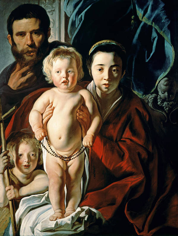 The Print featuring the painting The Holy Family With St. John The Baptist by Jacob Jordaens