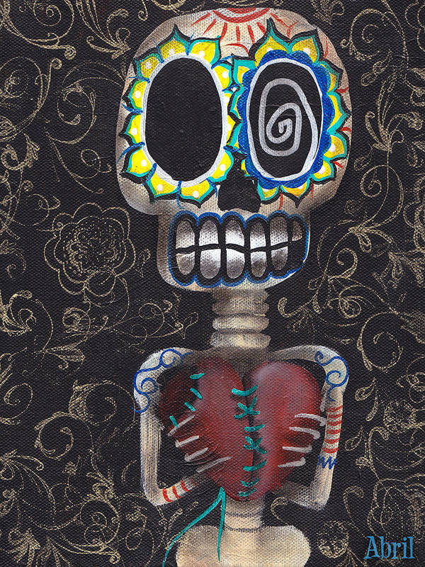 Day Of The Dead Print featuring the painting Toma Mi Corazon by Abril Andrade Griffith