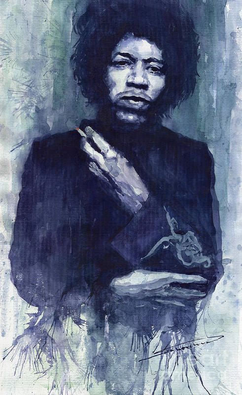 Watercolour Print featuring the painting Jimi Hendrix 01 by Yuriy Shevchuk
