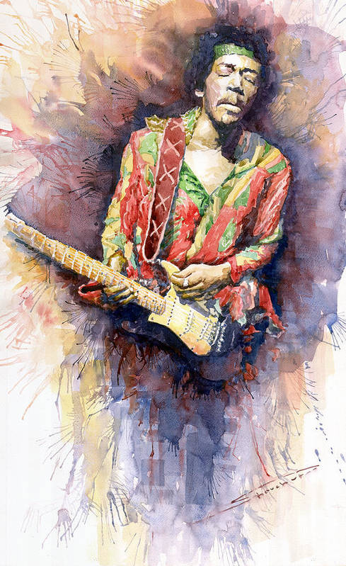 Watercolor Print featuring the painting Jimi Hendrix 09 by Yuriy Shevchuk