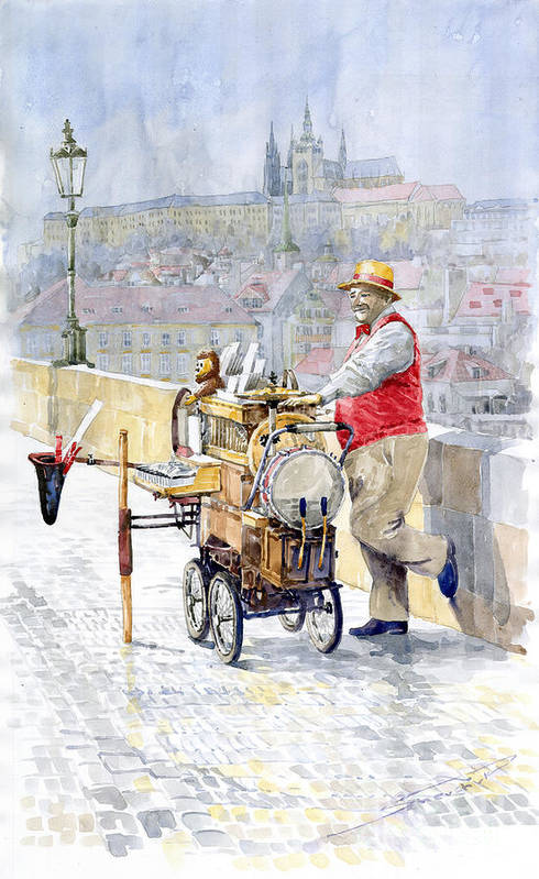 Watercolor Print featuring the painting Prague Charles Bridge Organ Grinder-seller Happiness by Yuriy Shevchuk