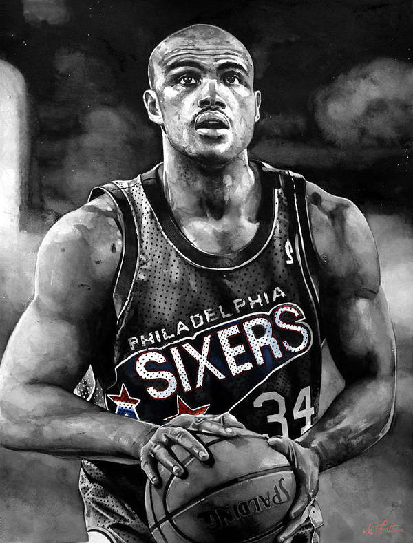 Charles Barkley Print featuring the painting Charles Barkley by Michael Pattison