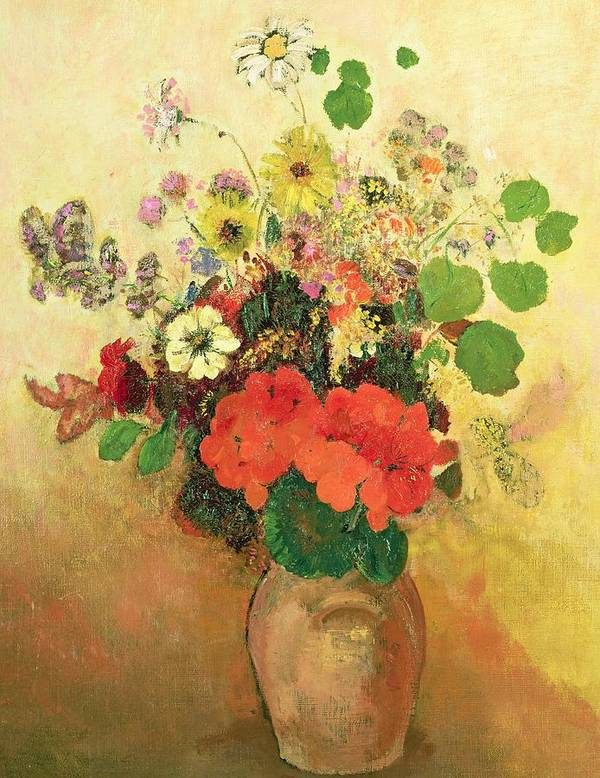 Still Life; Daisy; Vase; Symbolist Print featuring the painting Vase Of Flowers by Odilon Redon