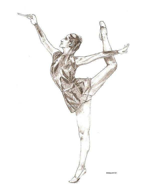 Drawing Print featuring the drawing Ballet A Pencil Study In Black And White by Mario Perez