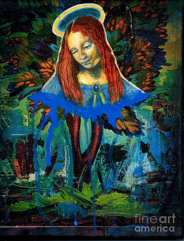 Mary Print featuring the painting Blue Madonna In Tree by Genevieve Esson