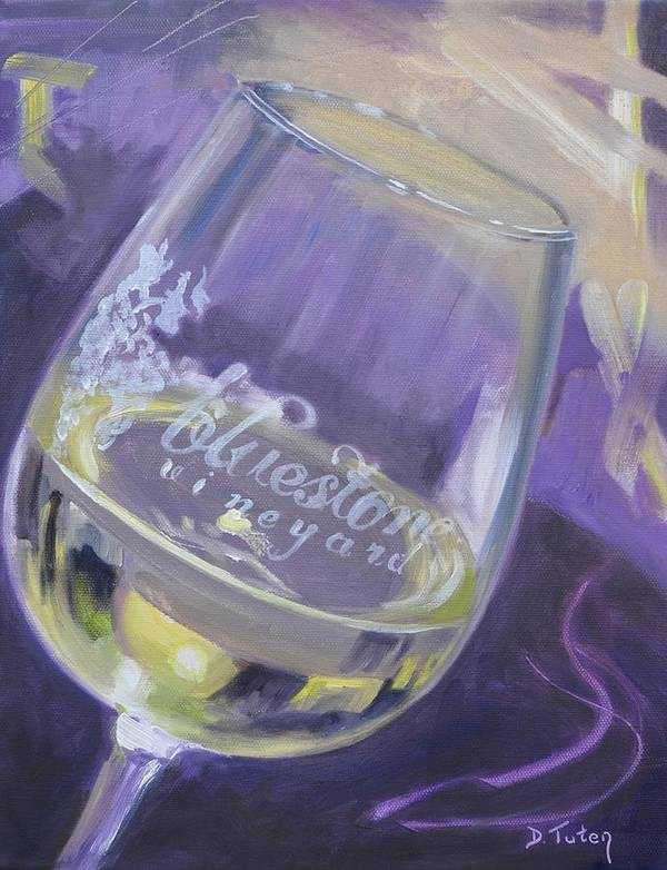 Wine Print featuring the painting Bluestone Vineyard Wineglass by Donna Tuten