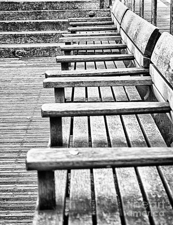 Autumn Print featuring the photograph Bw Bench by Christos Koudellaris