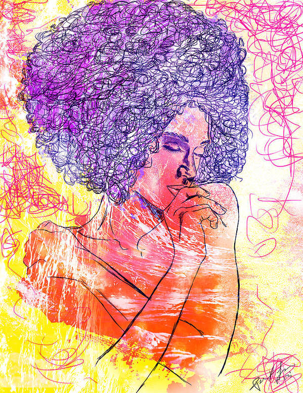 Colored Woman Print featuring the drawing Colored Woman by Pierre Louis