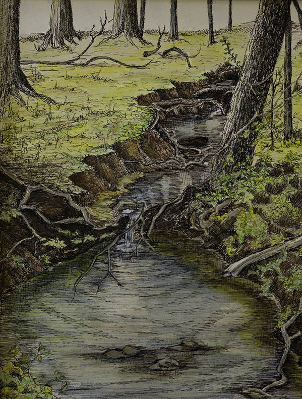 Creek Print featuring the painting Creek by Janet Felts