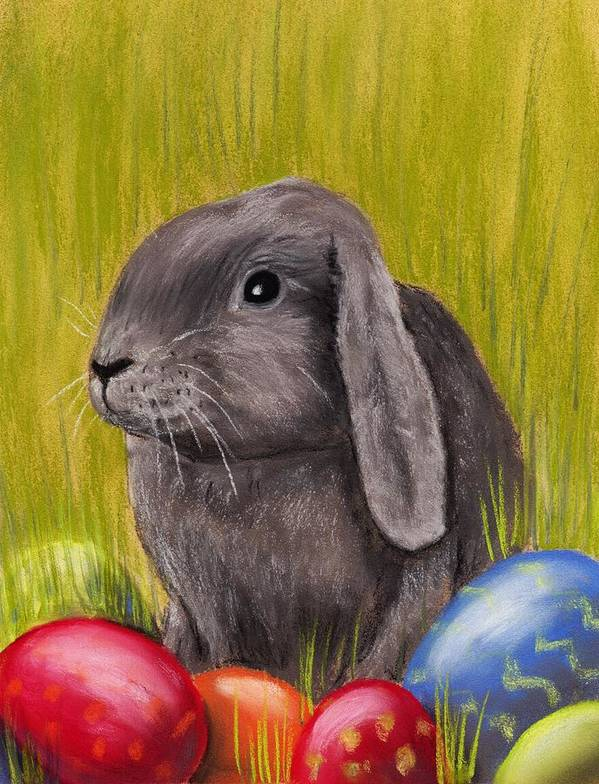Rabbit Print featuring the painting Easter Bunny by Anastasiya Malakhova